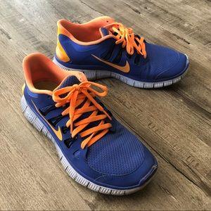 Nike Free 5.0 Ink Blue and Optic Orange 9